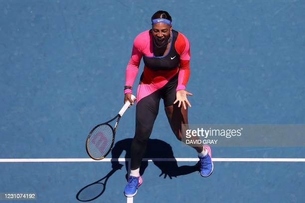 Serena Williams of the US reacts on a point against Serbia's Nina Stojanovic during their women's singles match on day three of the Australian Open...