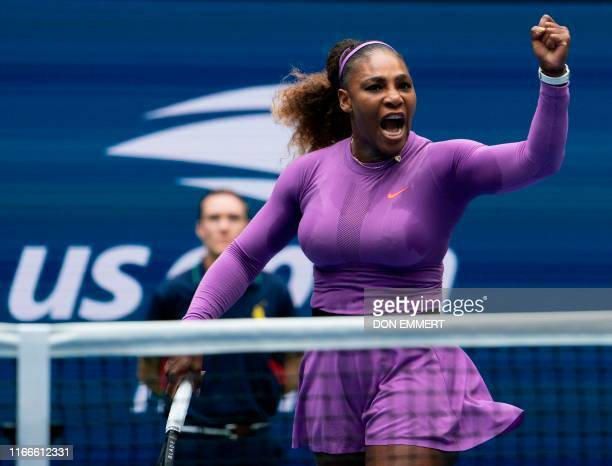 Serena Williams of the US reacts to a point against Bianca Andreescu of Canada during the Women's Singles Finals match at the 2019 US Open at the...