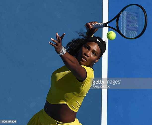 Serena Williams of the US returms against Russia's Margarita Gasparyan during their women's singles game on day seven of the 2015 Australian Open...