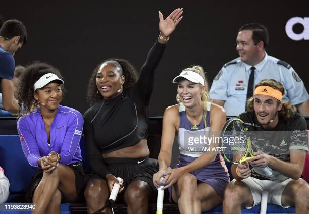 Serena Williams of the US shares a lighter moment with Naomi Osaka of Japan Caroline Wozniacki of Denmark and Stefanos Tsitsipas of Greece as they...