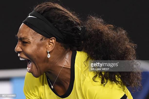 Serena Williams of the US shouts during her women's singles semifinal match against Poland's Agnieszka Radwanska on day eleven of the 2016 Australian...