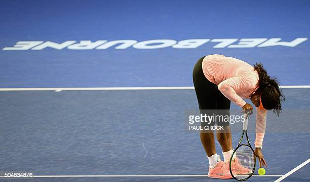 TOPSHOT Serena Williams of the US takes part in a practice session ahead of the Australian Open tennis tournament in Melbourne on January 14 2016 /...