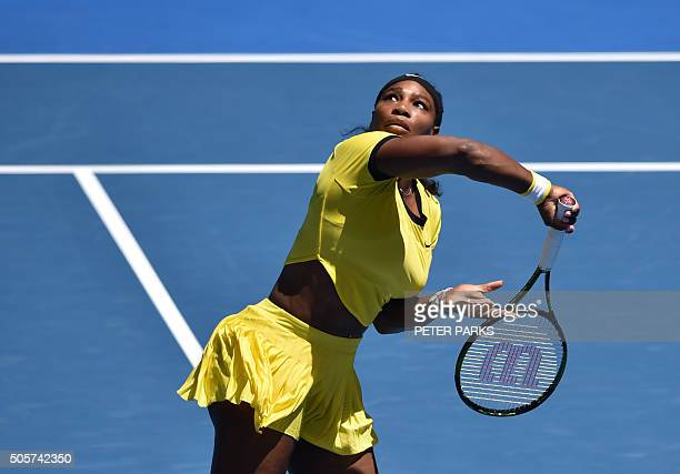 Serena Williams of the US waits to play a backhand return during her women's singles match against Taiwan's Hsieh SuWei on day three of the 2016...