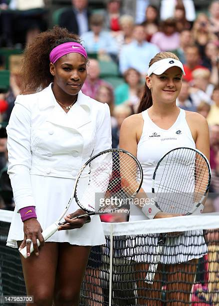 Serena Williams of the USA and Agnieszka Radwanska of Poland look on ahead of their Ladies' Singles final match on day twelve of the Wimbledon Lawn...