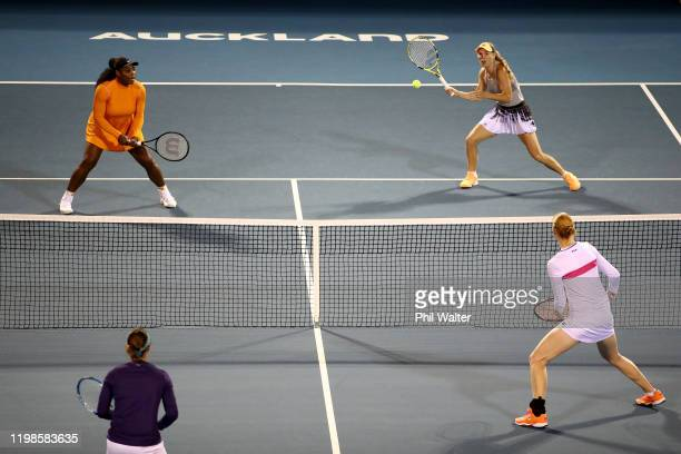 Serena Williams of the USA and Caroline Wozniacki of Denmark in action during their doubles semifinal against Kirsten Flipkens and Alison van...