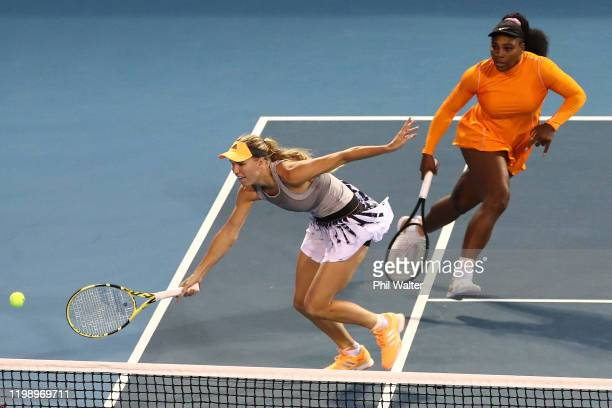 Serena Williams of the USA and Caroline Wozniacki of Denmark in action during their doubles final against Asia Muhammad and Taylor Townsend of the...