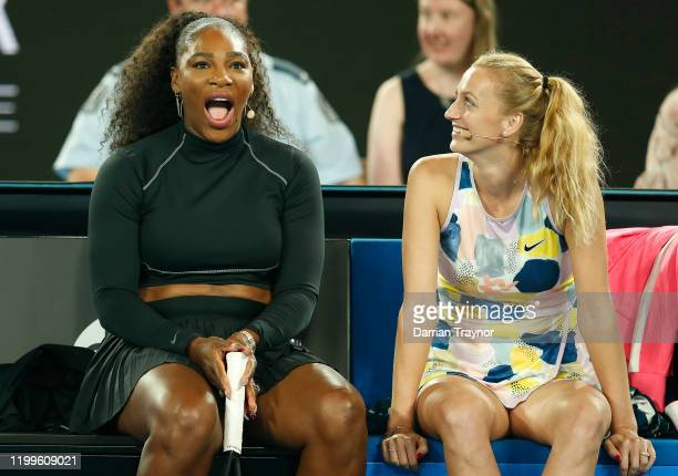 Serena Williams of the USA and Petra Kvitova of the Czech Republic laugh as they look on during the Rally for Relief Bushfire Appeal event at Rod...