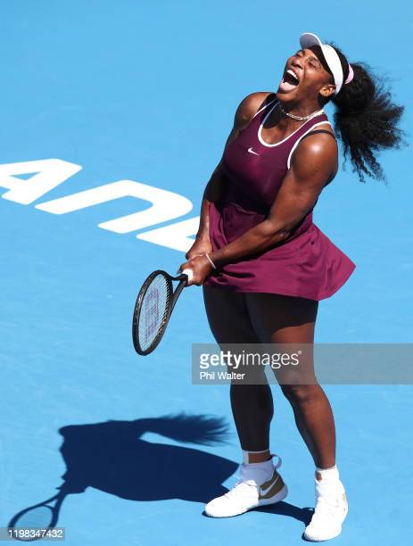 Serena Williams of the USA celebrates a point in her match against Christina McHale of the USA during day four of the 2020 Women's ASB Classic at ASB...