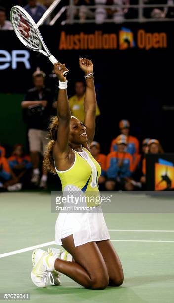 Serena Williams of the USA celebrates match point against Lindsay Davenport of the USA during the Women's Final during day thirteen of the Australian...