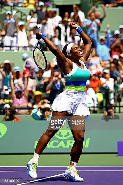 Serena Williams of the USA celebrates match point against Maria Sharapova of Russia during the Womens Final match of the Sony Open on Day 13 at...