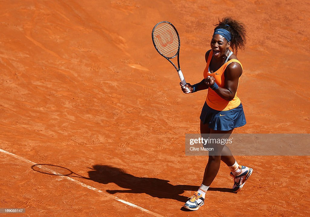 Serena Williams of the USA celebrates on match point as she wins the womens final against Victoria Azarenka of Belarus on day eight of the Internazionali BNL d'Italia 2013 at the Foro Italico Tennis Centre on May 19, 2013 in Rome, Italy.