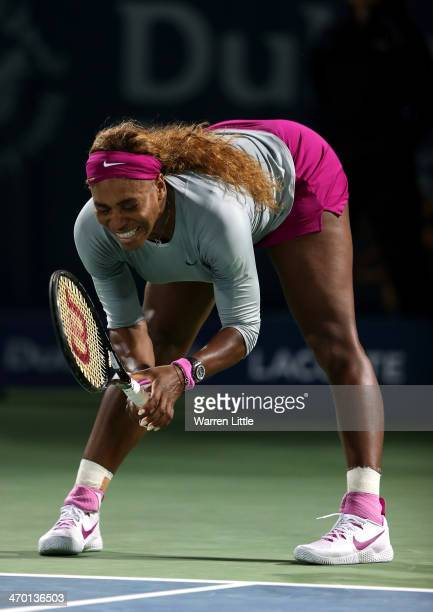 Serena Williams of the USA celebrates winning a game against Ekaterina Makarova of Russia during day two of the WTA Dubai Duty Free Tennis...