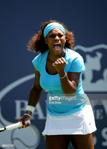 Serena Williams of the USA celebrates winning a point in the second set tie breaker of her match against Melinda Czink of Hungary on Day 4 of the...