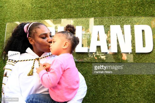 Serena Williams of the USA celebrates with daughter Alexis Olympia after winning the final match against Jessica Pegula of USA at ASB Tennis Centre...