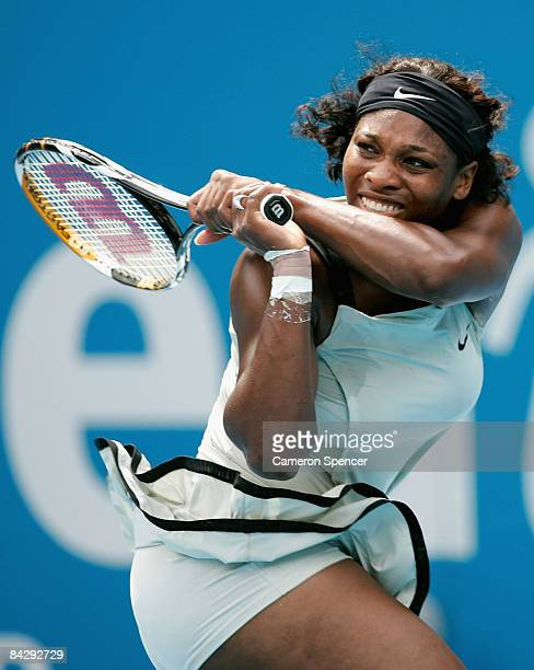 Serena Williams of the USA hits a backhand during her womens semifinal match against Elena Dementieva of Russia during day five of the 2009 Medibank...
