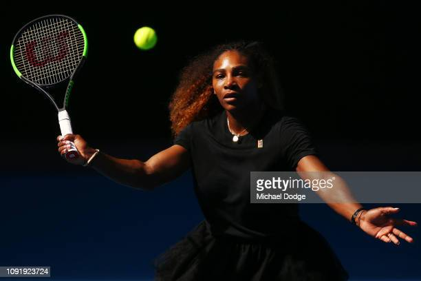 Serena Williams of the USA hits a forehand volley during a practice session ahead of the 2019 Australian Open at Melbourne Park on January 10 2019 in...
