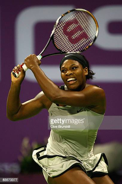 Serena Williams of the USA in action against Dinara Safina of Russia in their round robin match during the Sony Ericsson Championships at the Khalifa...