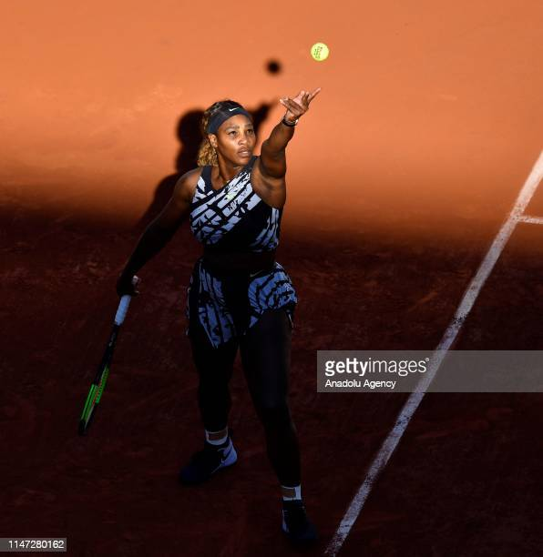 Serena Williams of the USA in action against her compatriot Sofia Kenin during their third round match at the French Open tennis tournament at Roland...