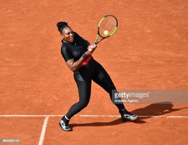 Serena Williams of the USA in action against Kristyna Pliskova of Czech Republic during their first round match at the French Open tennis tournament...