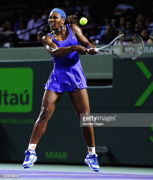 Serena Williams of the USA in action during her match against Caroline Wozniacki of Denmark on day 9 of the Sony Ericsson Open at Crandon Park Tennis...