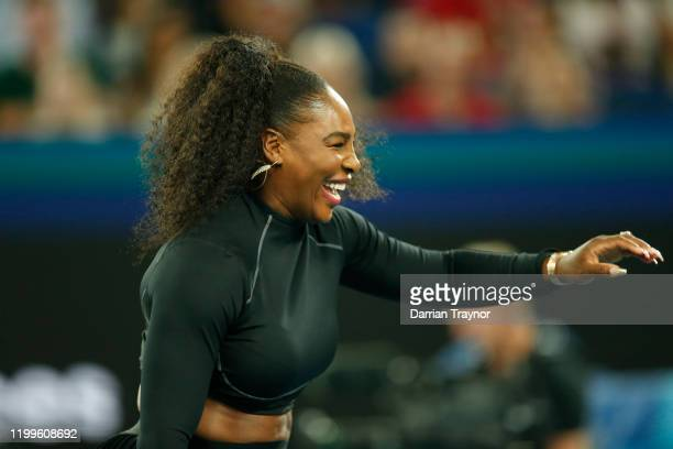 Serena Williams of the USA laughs during the Rally for Relief Bushfire Appeal event at Rod Laver Arena on January 15 2020 in Melbourne Australia