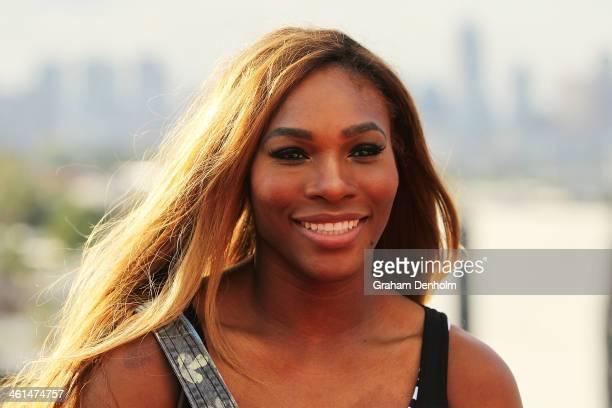 Serena Williams of the USA looks on during a meet greet with the Melbourne Renegades at The Olsen on January 9 2014 in Melbourne Australia