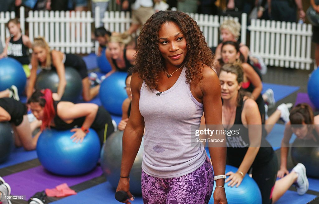 Serena Williams of the USA looks on during the launch of her Nike Training Club app workout on January 8, 2013 in Melbourne, Australia.