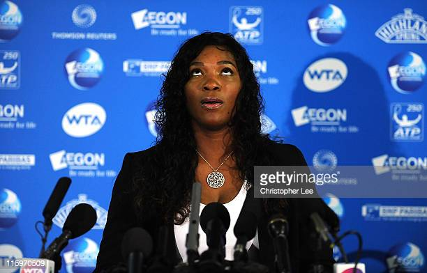Serena Williams of the USA looks up to the sky as she desribes the time she stood on glass during the AEGON International at Devonshire Park on June...