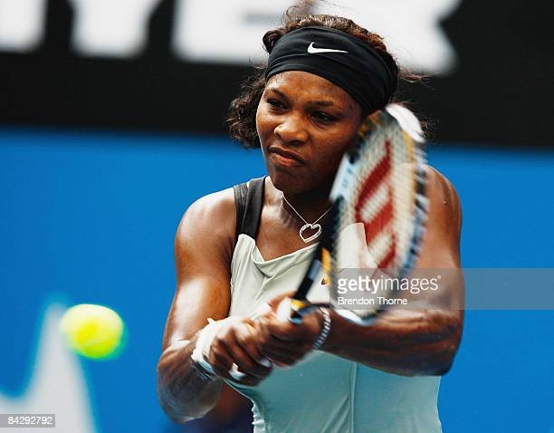 Serena Williams of the USA plays a backhand during the semi final match against Elena Dementieva of Russia during day five of the 2009 Medibank...