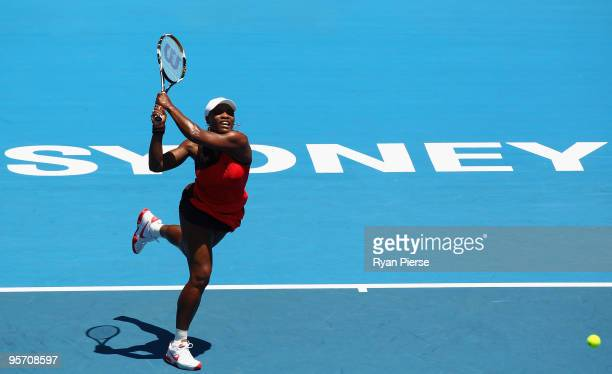 Serena Williams of the USA plays a backhand in her second round match against Maria Jose Martinez Sanchez of Spain during day three of the 2010...