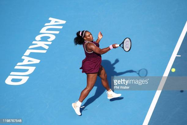 Serena Williams of the USA plays a forehand during her semifinal against Amanda Anisimova of the USA during day six of the 2020 Women's ASB Classic...
