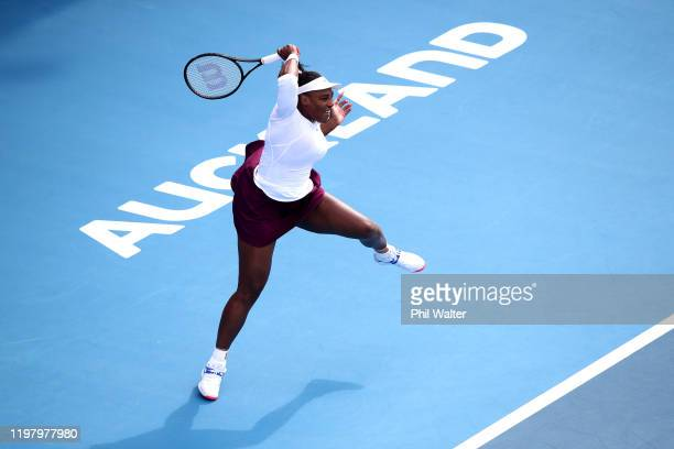 Serena Williams of the USA plays a forehand in her first round match against Camila Giorgi of Italy during day two of the 2020 ASB Classic at ASB...