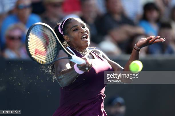 Serena Williams of the USA plays a forehand in the singles final against Jessica Pegula of the USA on day seven of the 2020 Women's ASB Classic at...