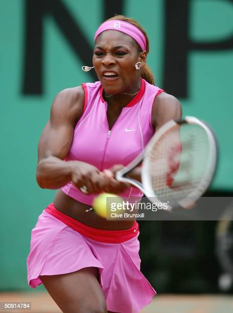 Serena Williams of the USA plays a return during her quarter final match against Jennifer Capriati of the USA during Day Nine of the 2004 French Open...