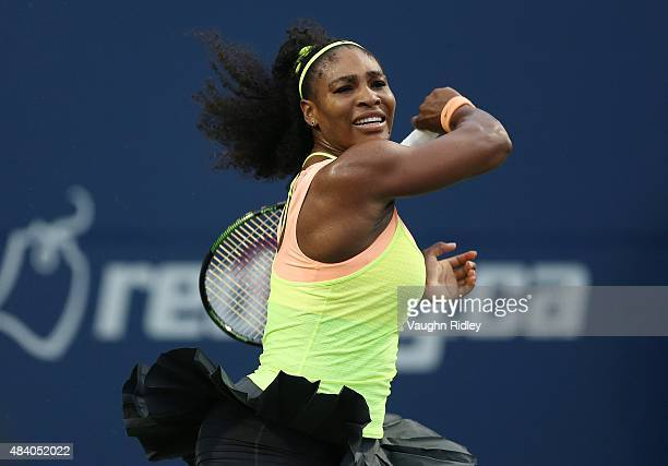 Serena Williams of the USA plays a shot against Roberta Vinci of Italy during Day 5 of the Rogers Cup at the Aviva Centre on August 14 2015 in...