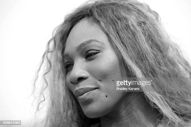 Serena Williams of the USA poses for a photo as she travels down the Brisbane River on a cruise boat during day four of the 2014 Brisbane...