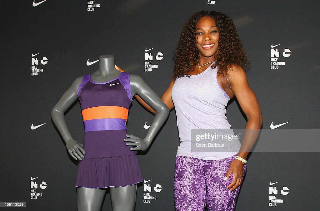 Serena Williams of the USA poses with her purple and orange Nike Pleated Knit Dress which she will debut at the 2013 Australian Open tournament on January 8, 2013 in Melbourne, Australia.