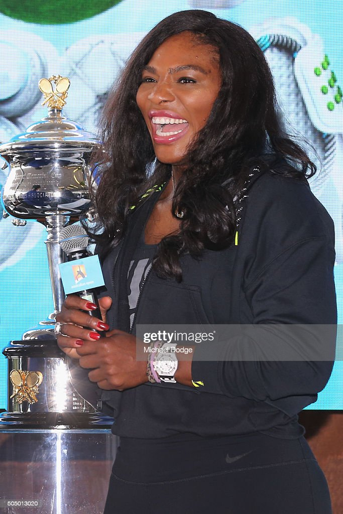 Serena Williams of the USA reacts during the 2016 Australian Open official draw at Melbourne Park on January 15, 2016 in Melbourne, Australia.