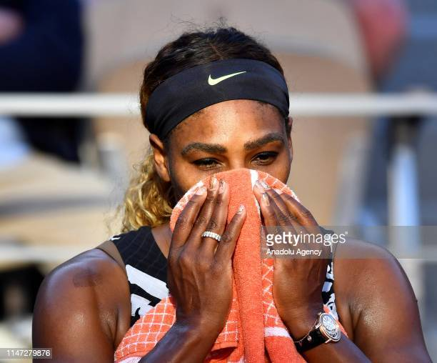 Serena Williams of the USA reacts during the match against her compatriot Sofia Kenin during their third round match at the French Open tennis...