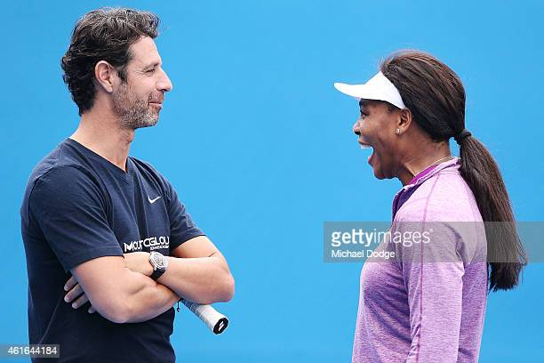 Serena Williams of the USA reacts with her coach Patrick Mouratoglou during a practice session ahead of the 2015 Australian Open at Melbourne Park on...