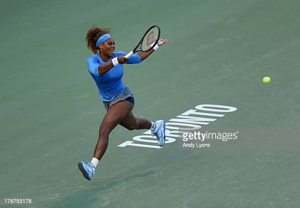 Serena Williams of the USA screams hits a return during her match against Francesca Schiavone of France on day three of the Rogers Cup Toronto at...
