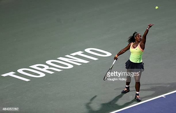 Serena Williams of the USA serves against Roberta Vinci of Italy during Day 5 of the Rogers Cup at the Aviva Centre on August 14 2015 in Toronto...