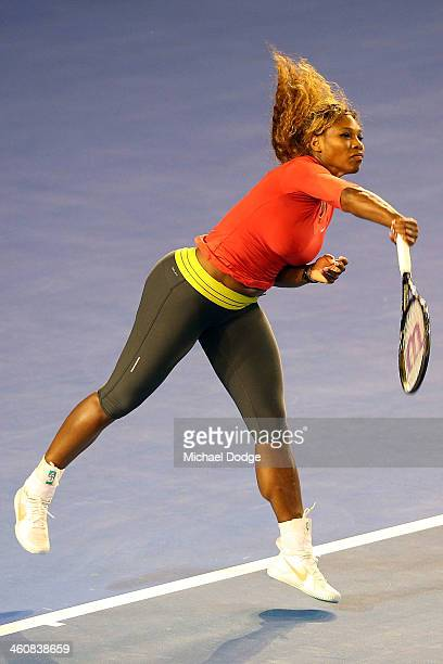 Serena Williams of the USA serves during a practice session ahead of the 2014 Australian Open at Melbourne Park on January 6 2014 in Melbourne...