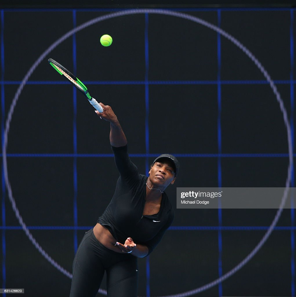 Serena Williams of the USA serves during a practice session ahead of the 2017 Australian Open at Melbourne Park on January 11, 2017 in Melbourne, Australia.