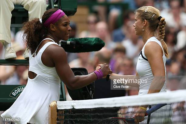 Serena Williams of the USA shakes hands with Melinda Czink of Hungry after defeating her in their Ladies' Singles second round match on day four of...