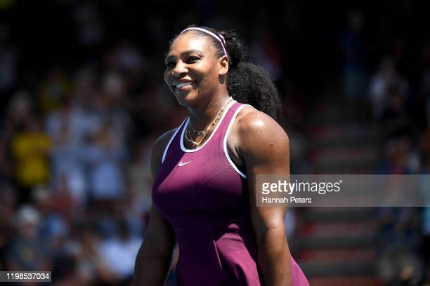 Serena Williams of the USA thanks the crowd after winning her quarter final match against Laura Siegemund of Germany during day five of the 2020...