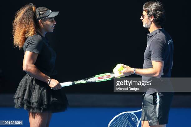 Serena Williams of the USA with coach Patrick Mouratoglou during a practice session ahead of the 2019 Australian Open at Melbourne Park on January 10...