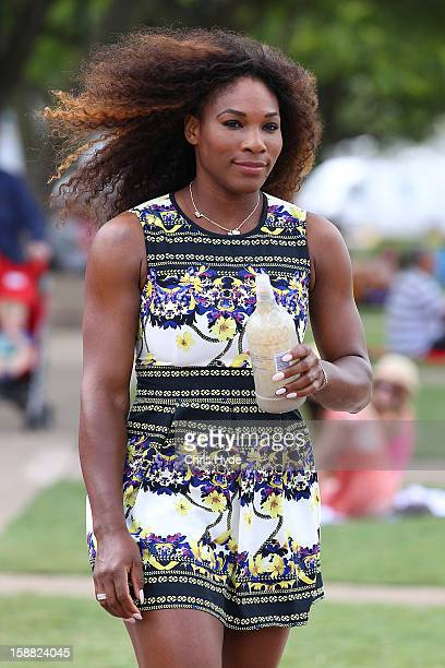 Serena Williams of United States arrives at the Wheel of Brisbane in South Bank on day two of the Brisbane International on December 31 2012 in...