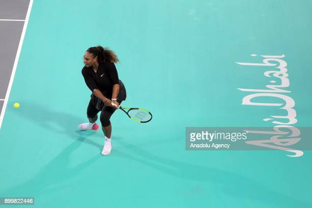Serena Williams of United States in action during her Ladies Final match against Jelena Ostapenko of Latvia on day three of the Mubadala World Tennis...