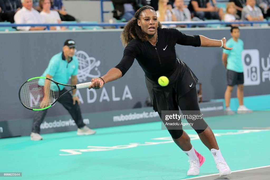Serena Williams of United States in action during her Ladies Final match against Jelena Ostapenko of Latvia on day three of the Mubadala World Tennis Championship at International Tennis Centre Zayed Sports City on December 30, 2017 in Abu Dhabi, United Arab Emirates.